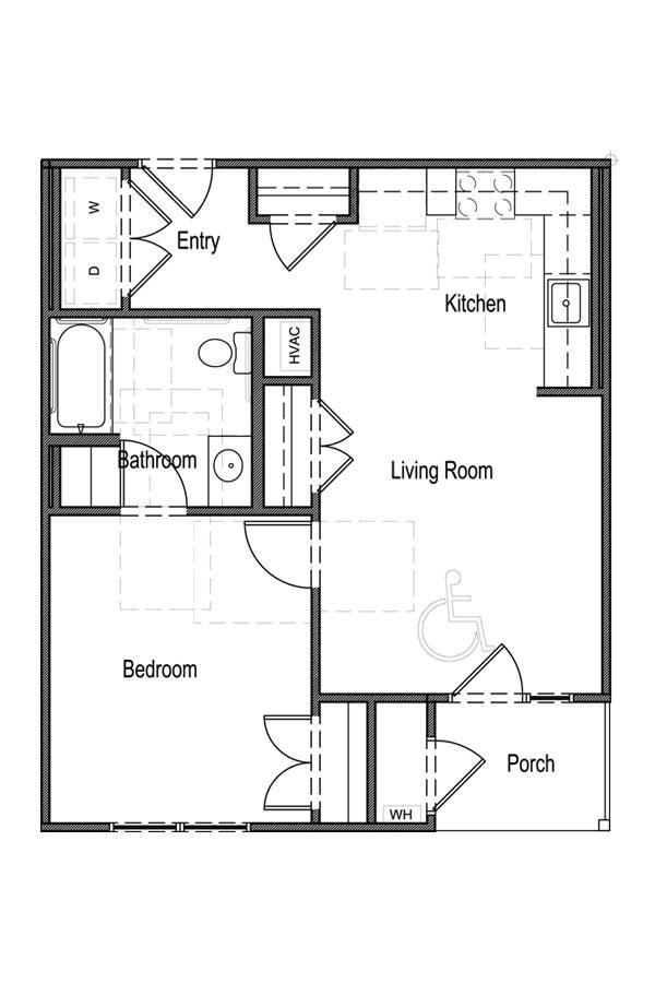 1 Bedroom, 1 Bath - UFAS A
