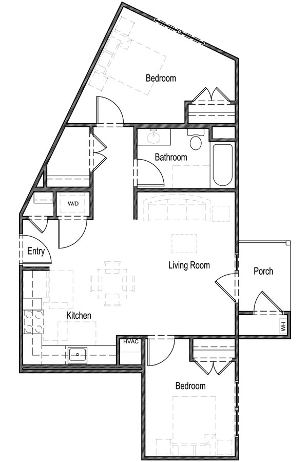 2 Bedroom, 1 Bath - Unit 2B