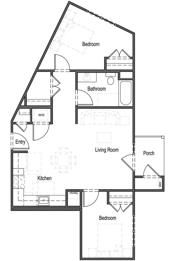 2 Bedroom, 1 Bath - Unit 2B