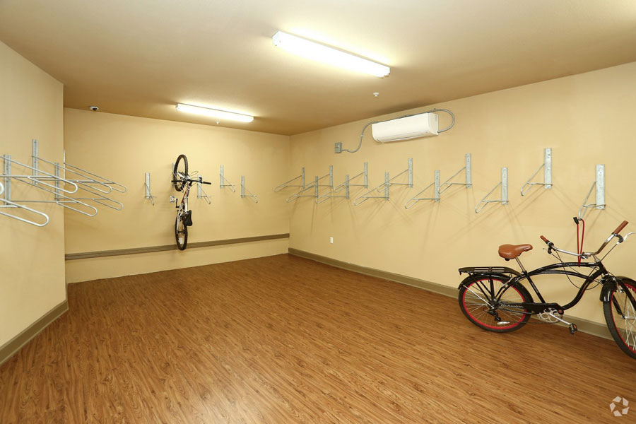 Indoor bike storage room at the Villages at Ben White