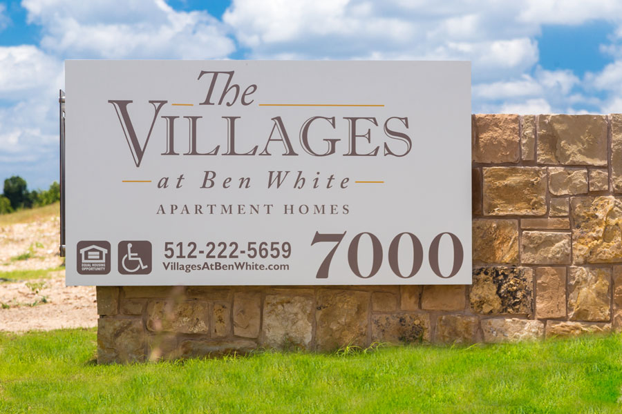 Exterior sign of The Villages at Ben White