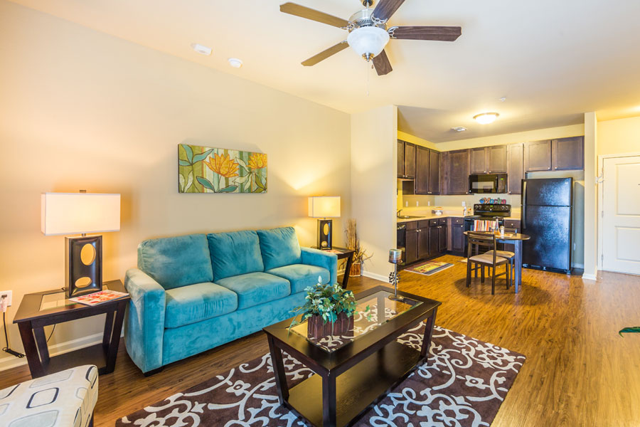Living room and kitchen at the Villages at Ben White