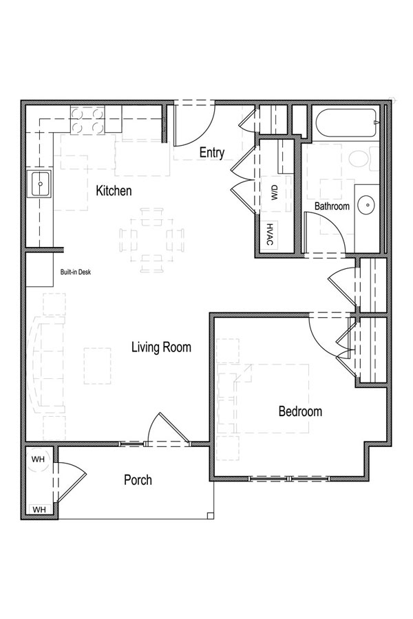 1 Bedroom, 1 Bath - Unit 1A