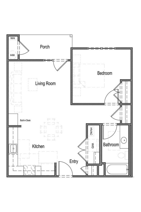 1 Bedroom, 1 Bath - Unit 1B