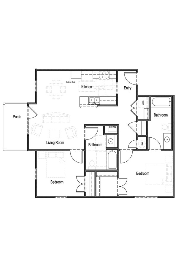 2 Bedroom, 2 Bath - Unit 2A