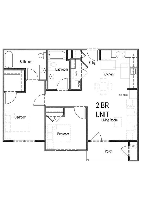 2 Bedroom, 2 Bath - A
