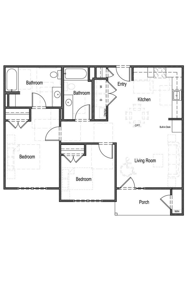 2 Bedroom, 2 Bath - UFAS A