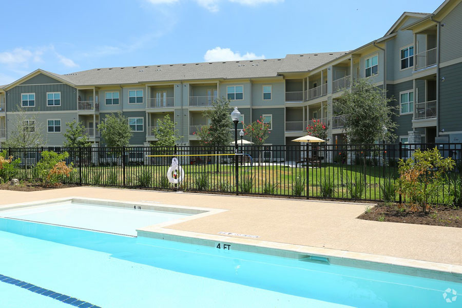Close up of the pool at Villages at Ben White retirement community